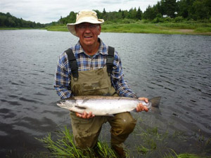 This salmon was hooked by Jean Paul Ouellet at Miramichi & Cains Rivers on July 28, 2011