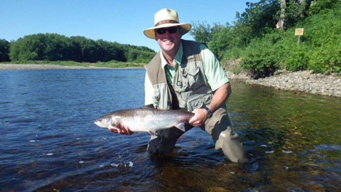 Jacques Pinet with a nice salmon taken on a smurf