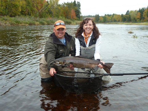 Here is Guide Rodney Colford and Anne Talbot-Kleeman with a Cain's river salmon