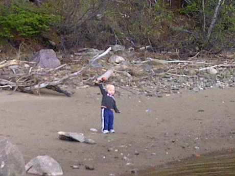 Ledgar Jardine, age 19 months, fishing bass last day of retention season at enclosure SW Miramichi