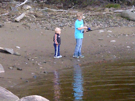 Young anglers fishing bass last day of retention season at Enclosure SW Miramichi
