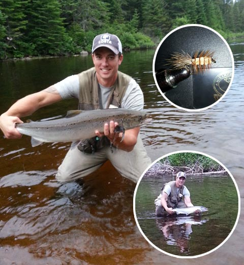 Sean Dolan hooked this bright salmon Wednesday night on a tributary of the Miramichi with a brown bug #6 natural deer tail fished dry.