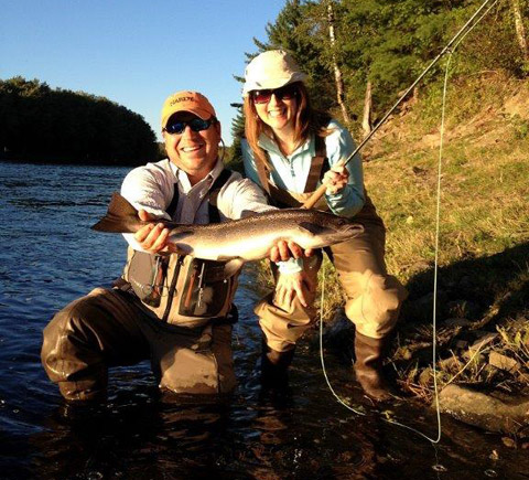 Ledges guide Andrew Anthony and Kim Allan with her first Atlantic Salmon.
